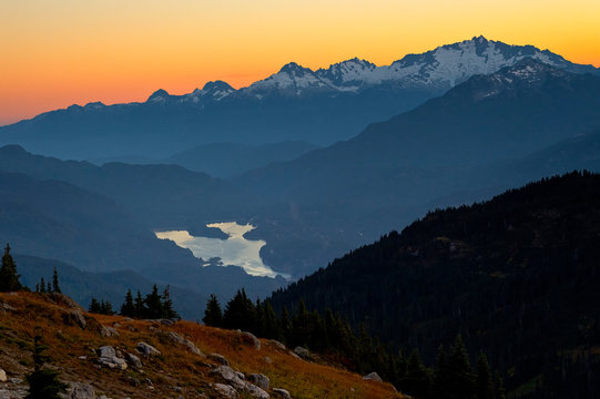 Mountain view at sunset, Whistler, BC, Canada