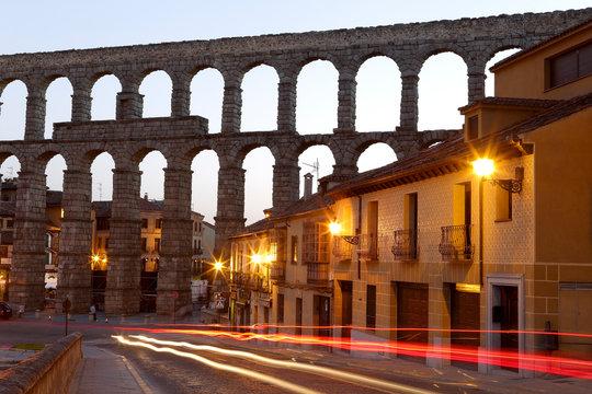 Segovia, Spain at the ancient Roman aqueduct and Azoguejo Square