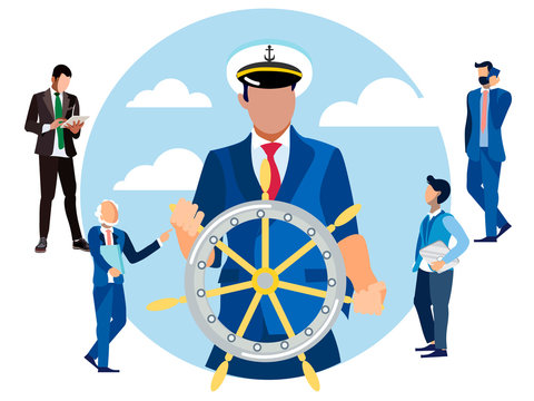 Captain at the helm, head of finance. In minimalist style Cartoon flat Vector