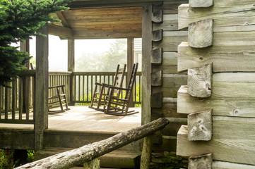 Mount Leconte Lodge porch, Great Smoky Mountain National Park, Gatlinburg, Tennesee.