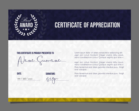 Professional certificate. Template diploma with luxury and modern pattern background. Achievement certificate.
