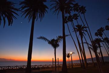 Sunset glow, Santa Monica Pallisades at dusk in Santa Monica, California, USA