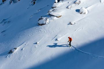 Man backcountry skiing above Ophir Pass, San Juan National Forest, Silverton, Colorado, USA