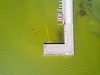 Aerial view of algae bloom on Lake Champlain, St. Albans Bay, St. Albans Vermont.