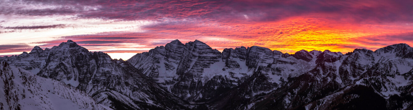Scenic panorama of Maroon Bells at moody dusk, Aspen, Colorado, USA
