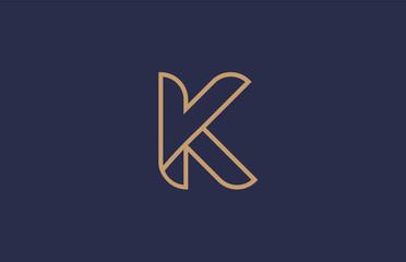brown blue line alphabet letter K logo company icon design
