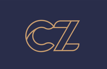 Fototapeta brown blue line alphabet letter CZ C Z logo combination company icon design obraz