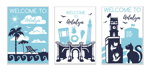 Welcome to Antalya. Travel to Turkey concept. Set of three vector illustrations with silhouette symbols of Antalya in modern flat style. Card, poster, flier, print design for travel promotion.