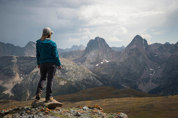Woman looking at view of San Juan mountains, Silverton, Colorado, USA