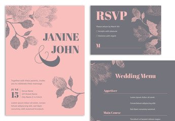 Wedding Suite Layout with Pink and Dark Grey Floral Elements