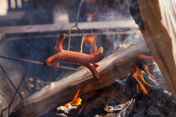 Close-up Of A Spiderdog Cooking Over A Campfire
