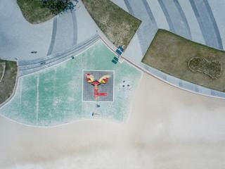 Aerial view of playground at beach