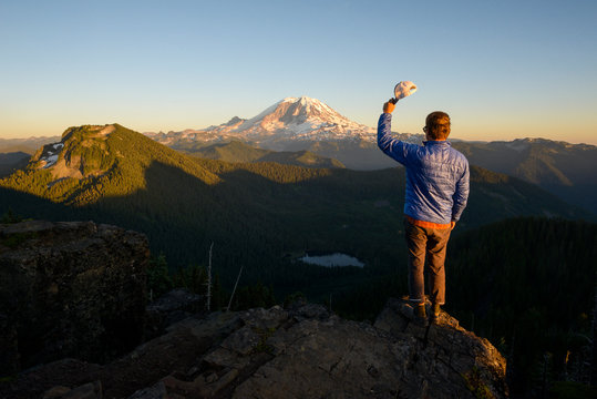 Portrait of Male Hiker in front of Mountain
