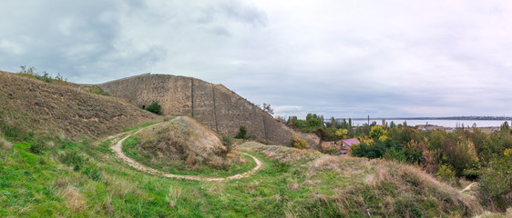 The old wall and the descent to the salt estuary Kuyalnik in Odessa