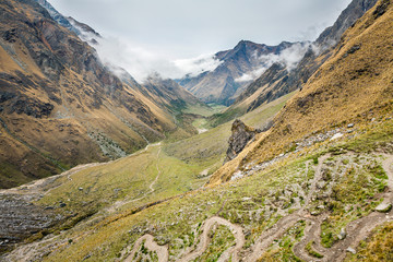Mountain landscape with route to Machu Picchu