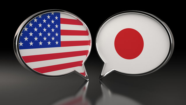 USA and Japan flags with Speech Bubbles. 3D Illustration