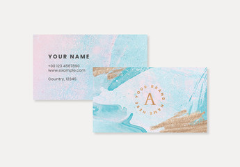 Pastel Business Card Layout with Paint Elements and Gold Accents