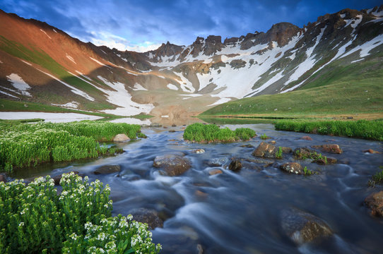 Wildflowers and a stream coming from upper Blue Lake in the Mount Sneffels Wilderness near Ouray, Colorado.