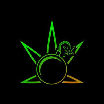Logo of medical cannabis. Illustration of a medical cannabis logo on a black background