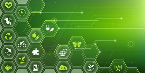 sustainability icon concept: environment, green energy, sustainable development – vector illustration
