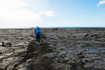 Woman hiking in Hawaii Volcanoes National Park, Hawaii Islands, USA