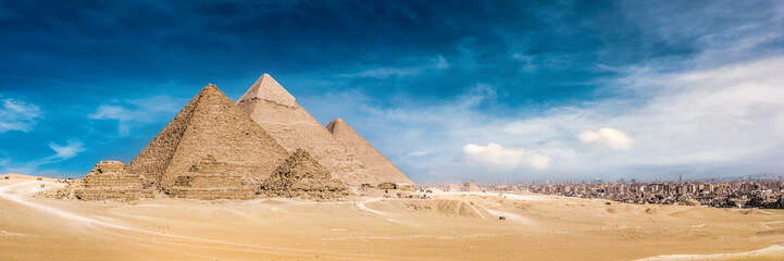 Panorama of the Great Pyramids of Giza, Egypt Wall mural
