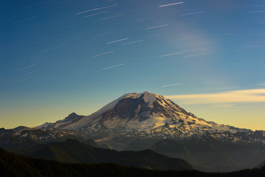 Night Photo of Mt Rainier and Star Trails
