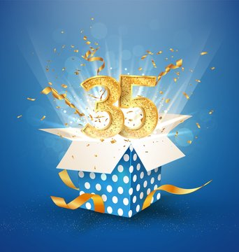 35 th years anniversary and open gift box with explosions confetti. Isolated design element. Template thirty five birthday celebration on blue background vector Illustration