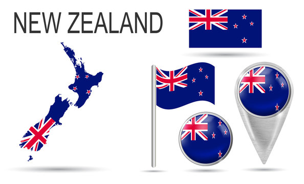 NEW ZEALAND. Flag, map pointer, button, waving flag, symbol, flat icon and map of country in the colors of the national flag. Vector illustration of collection of national symbols on various objects