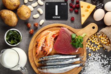 Fototapeta Foods high in iodine. obraz