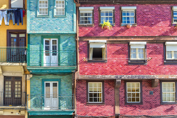Windows and balconies of colorful terrace houses, Porto, Portugal