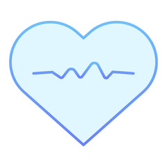 Heart pulse flat icon. Heartbeat blue icons in trendy flat style. Cardiogram gradient style design, designed for web and app. Eps 10.