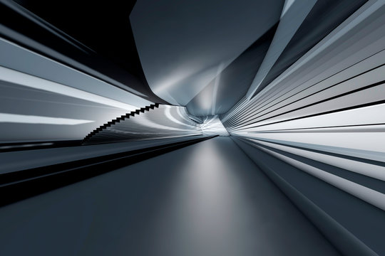 D rendering, Architectural visualization of a futuristic hallway