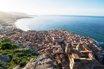 View of coastline and town of Cefalu, Sicily, Italy