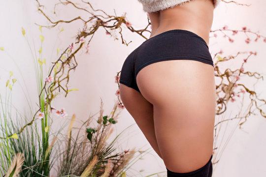 Fit body. Beautiful female butt.