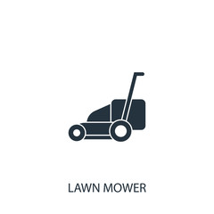 Lawn mower icon. Simple gardening element illustration. Vector s
