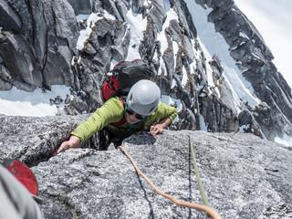 High angle of rock climber