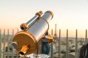 Viewing telescope on Triumphal Arch, Paris, France