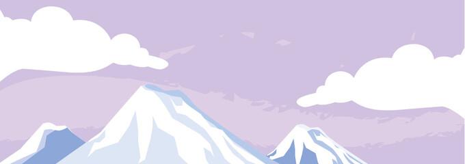 Photo sur Aluminium Lilas mountains snowscape scene icon