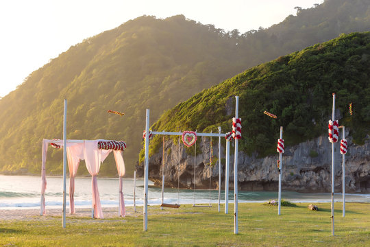 Tent and swings on seashore, Banda Aceh, Sumatra, Indonesia