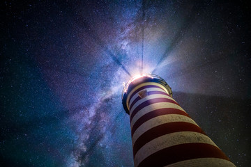 Milky Way above West Quoddy Head Lighthouse
