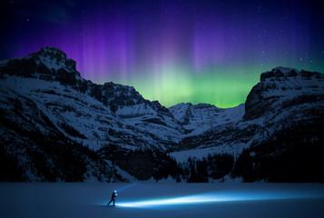 Aurora borealis over Lake O'Hara, Yoho National Park, Alberta, Canada