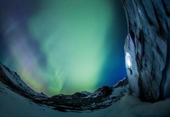Aurora Borealis over Athabasca Glacier