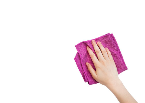 Man's or woman's isolated hand cleaning on a white background.