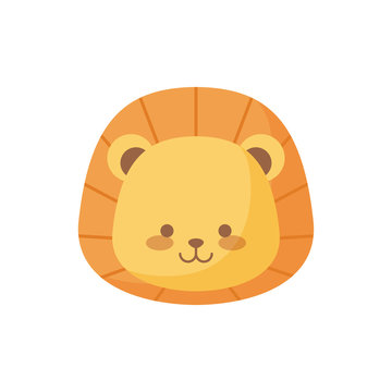 head of cute lion animal character