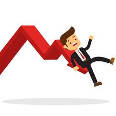 Business man On Falling Down Chart