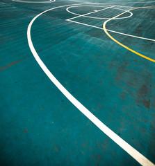 White lines in Blue Futsal Field. Boundaries Line in Futsal.