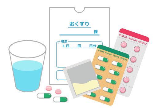 薬と薬袋とコップ(錠剤、カプセル、粉薬)