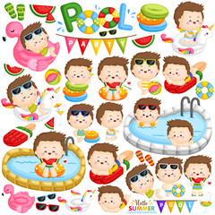 A Vector of Cute Little Boys Relaxing on Cute Float and Have Fun at the Pool Party