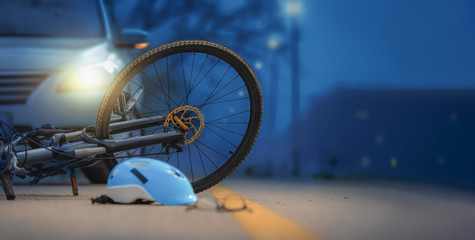 Drunk driving crashes , Accident car crash with bicycle on road at night time. Fototapete